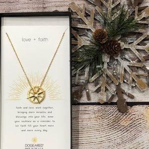 Dogeared Love + Faith Compass Token Necklace